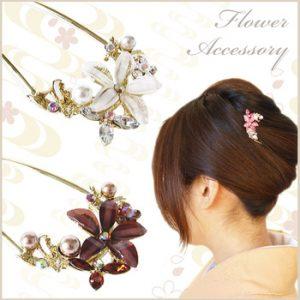 お宮参りママ髪型|パール花かんさし